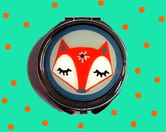 Fox mirror, red fox mirror, sleeping fox face mirror, fox accessories, animal, birthday gift, teens gift, kids accessories