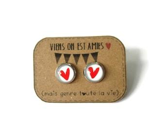 Girl earrings - Best Friends heart Stud earrings - best friend birthday - Friendship studs  - Best Friends Forever - bff