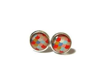 MERMAID EARRINGS - Kids Scales earrings - Orange Scales - mermaid studs - Gift for Girls - Kids Jewelry - the little mermaid