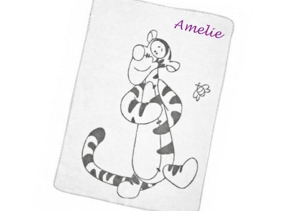 personalisierte Decke 75x100 cm Babydecke mit Namen bestickt Tierfreunde