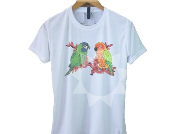 ddf6cc296 Bird t shirt S M L XL parrot lovers outfits -fashion -short sleeve crew  neck Adult clothes Fashion -shirt for women -shirt for men