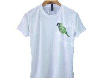 e0f923b10 Macow t shirt S M L XL green parrot print shirt- White shirt short sleeve  crew neck Adult clothes Fashion