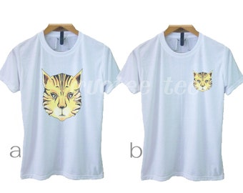 ba4b0ad33 Tiger shirt -wild animal tee S M L XL animal head tshirt - short sleeve  crew neck outfits -women men tops -sale gift ideas