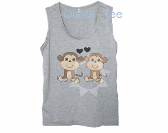 0b7f3b1e588f57 Monkey tank top S M L XL -Animal love print women tank tops - Unisex  clothes - Gray sleeveless shirt