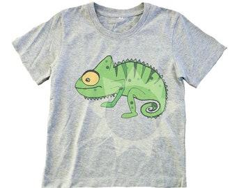 20d279540 Chameleon shirt kids toddler Animal t shirt Kids tshirts -Short sleeve-  Crew neck boy girl Children shirt
