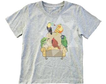 2e6d85059 Bird shirt kids Toucan Macaw parrot Cockatiel bird graphic art print  -Toddlers t shirts -kids Boy t shirt -Girl tee shirt