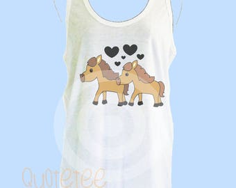 Horse tank top -Animal lover - Horse Love black heart - Lover tank top S M L XL - women tank tops - Horse singlet