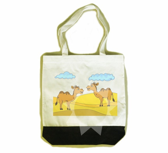 2f6f5c8ba7e8 Camel tote bag desert animal sand ground graphic 14x15x3 inch