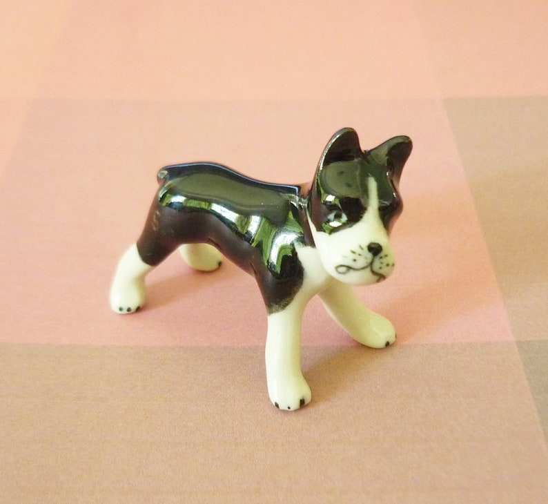 French bulldog figurine ceramic -miniature bulldog -puppy figurine -Doll  house Miniature animal figurines -collectible dolls - Tiny animals