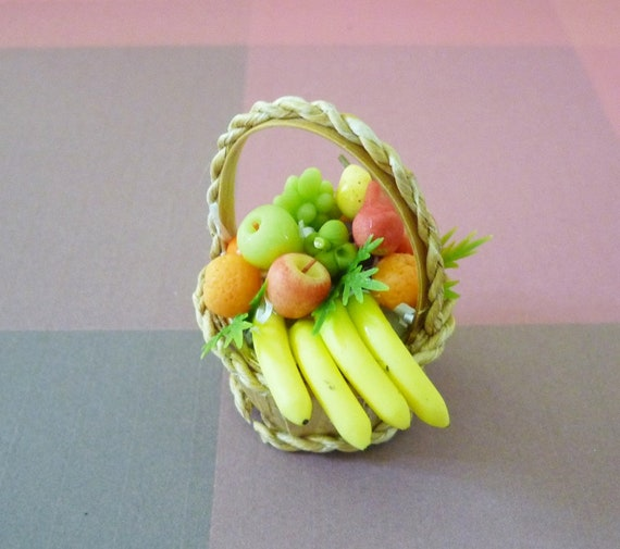Dollhouse Fruit in Ceramic Bowl with Tropical Mangosteen Handcrafted Miniature