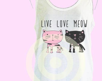 Meow tank top Women's tank tops S M L XL - women tops - Animal tank top - Cat tank top - Black cat - Pink cat
