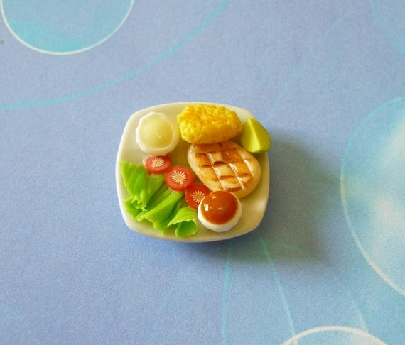 Dollhouse Miniatures Lemon Chicken with Potato /& Sausage Ham Dinner Food Deco