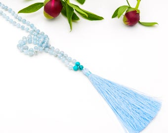 108 Aquamarine Mala, Hand Knotted Mala, Love Mala, Beaded Mala Necklace, Aquamarine Necklace, Yoga Jewelry