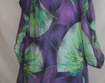 Vintage Stuning Gown, Purple and Green 1970's Long Dress.