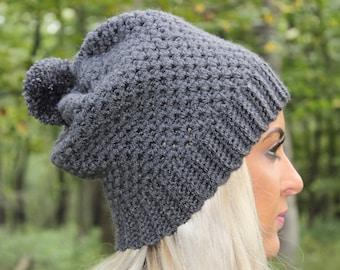 Dark Grey Slouchy Beanie, Crochet Slouchy Hat, Crochet Beanie, Crochet Hat, Slouchy Winter Hat, Womens Beanie, Pom Pom Hat, Slouch Hat