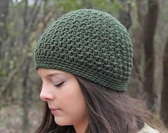 Green Beanie, Green Hat, Green Crochet Beanie, Green Crochet Hat, Skull Cap, Green Women's Hat, Green Winter Hat, THE ACADIA