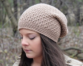 Crochet Slouchy Hat For Women, Slouchy Beanie Hat, Beige Hat, Women's Slouch Hat, Winter Hat, Boho Fashion, Crochet Hat, The Denali