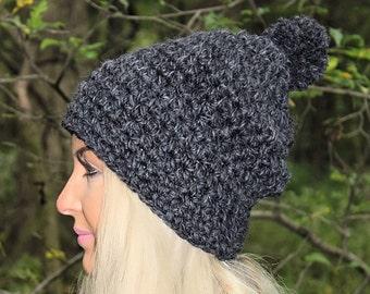 Slouchy Hat, Women's Hat, Grey Winter Hat, Slouchy Beanie, Chunky Crochet Hat, Crochet Beanie, Grey Crochet Hat, Grey Knit Hat, THE HUDSON