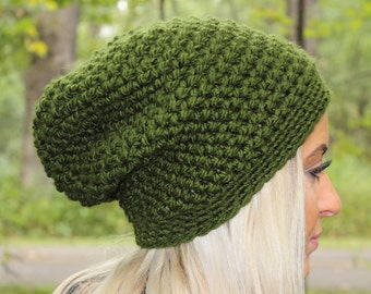 Green Slouchy Hat, Green Slouchy Beanie, Green Beanie, Green Crochet Hat, Green Winter Hat, Green Chunky Hat, Olive Green Hat, THE ASPEN