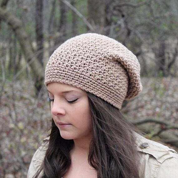 Crochet Slouchy Hat For Women Slouchy Beanie Hat Beige Hat  d028be6bb51