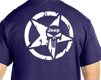 Navy Blue Jeep Punisher front and back design Many Sizes and Colors to choose from!