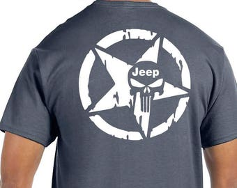 ec66fb515 Charcoal Jeep Punisher Double Sided front and back design Many Sizes and  Colors to choose from!