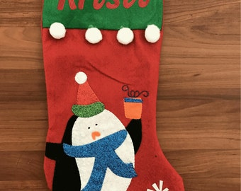 personalized christmas cute penguin stocking embroidered lettering any name