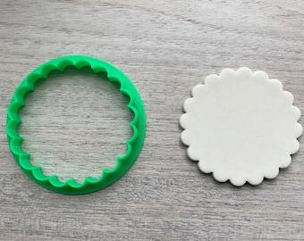 Scalloped Circle Cookie Cutter Fondant Jewelry Mini Clay Earring Geometric