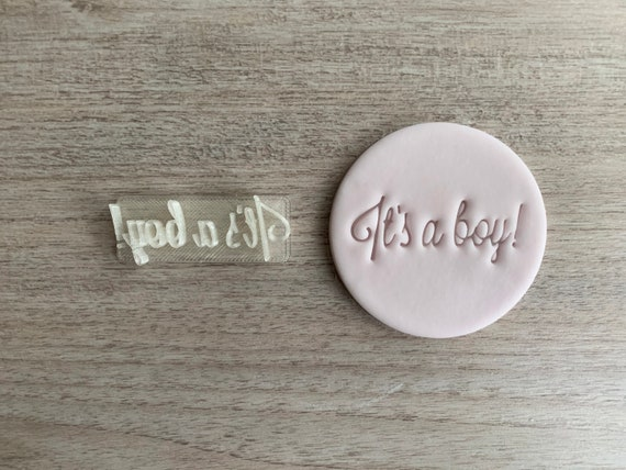 It/'s a boy Fondant Embosser or Cookie Stamp with handle