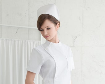 Nurse Uniform - Strict Nurse Uniform / Pin-Up Nurse / Vintage Nurse / Scrubs / Pinning Ceremony / Nurse Dress with Short Sleeves + Nurse Cap