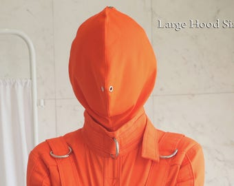 Orange Prison Bondage Straitjacket Hood
