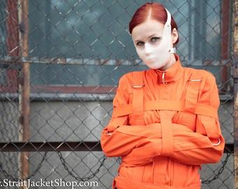 Orange Prison Straitjacket - Restraining straitjacket for Inmates and Prisoners / Maximum security