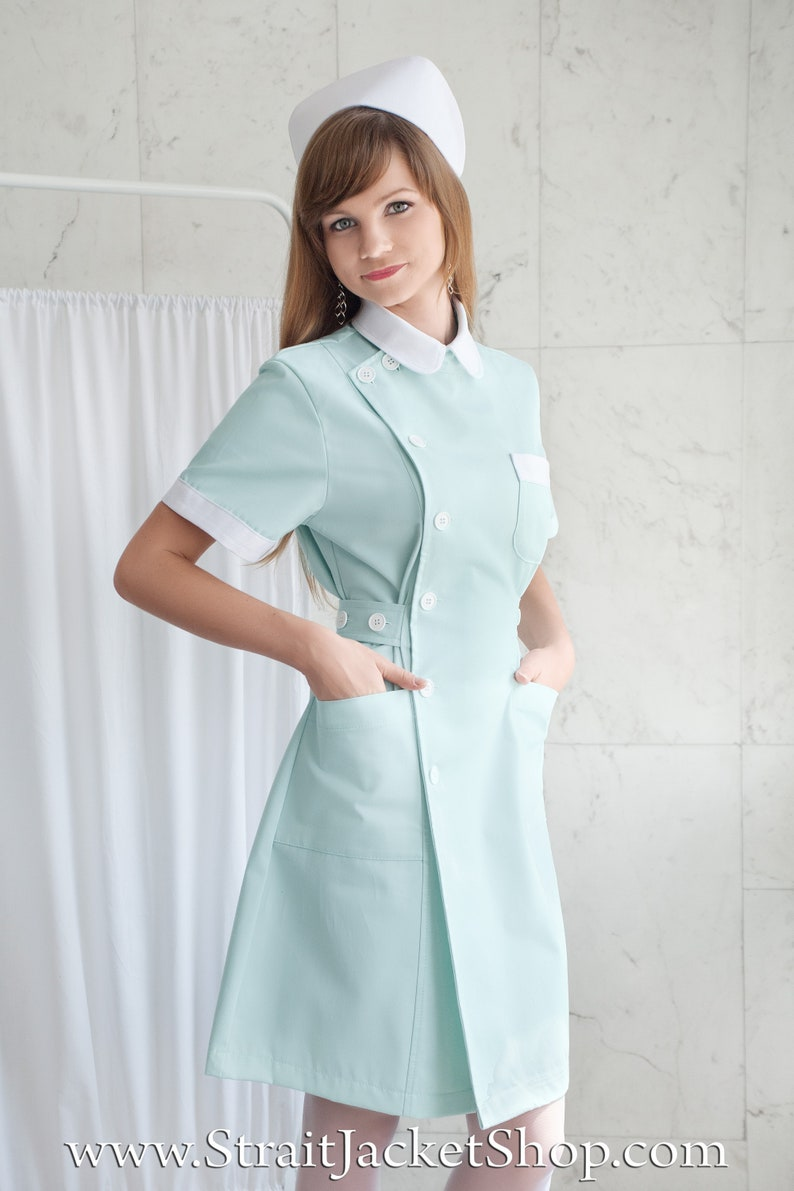 60s Dresses | 1960s Dresses Mod, Mini, Hippie Cute Mint Nurse Uniform - High Quality 100% Cotton / ABDL Nurse / Scrub / Ratched /Nurse Dress with Short Sleeves + Nurse Cap / Green $159.77 AT vintagedancer.com