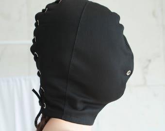 Black Bondage / BDSM / Blindfold Hood Face Mask