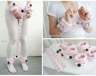 Set of 4 Pink Soft Padded Fleece Wrist and Ankle Cuffs Restraints with Segufix Locks Adult Baby Diaper Lover Bondage ABDL DDLG UwU