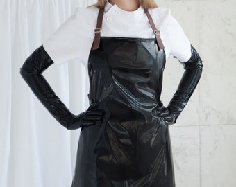 Black PVC Apron with Leather Straps - Bondage / BDSM / Sadist / Medical / Waterproof / American Mary / Gloss / Fetish Nurse / Audition 1999