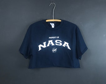 77a418206 Vintage property of NASA crop top 90s t shirt reworked