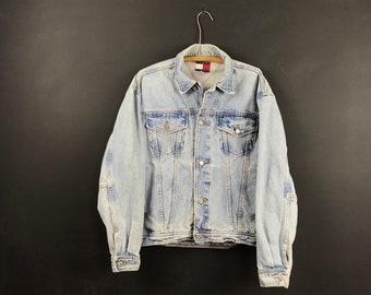 1645b192 Vintage Tommy Hilfiger denim jacket 90s oversized jean coat