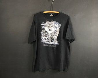 73e02688 Vintage wolf tshirt soft edmonton animal large made in canada