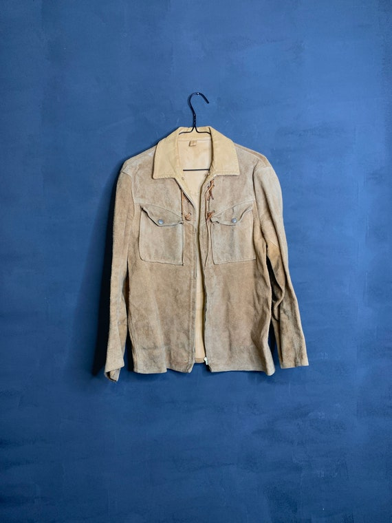 Vintage 1960s tan suede leather jacket
