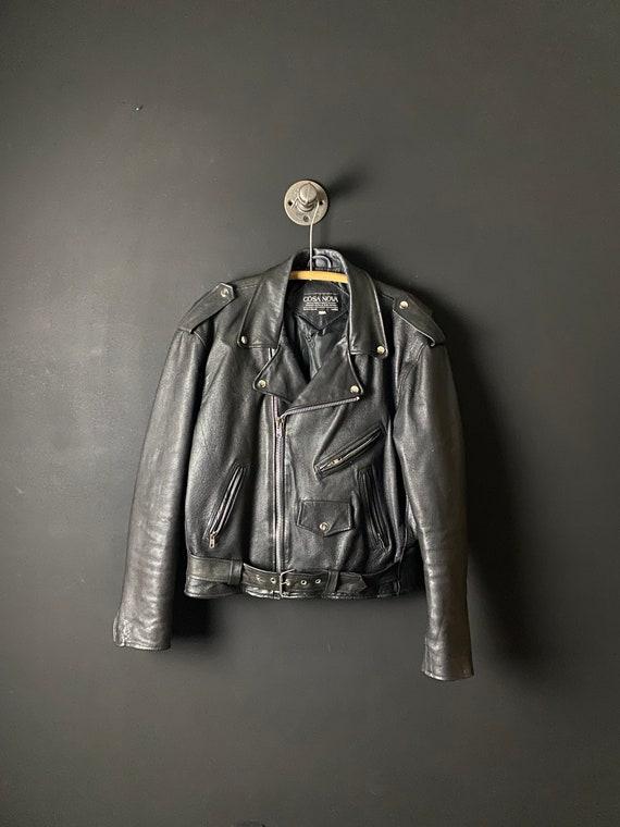 vintage leather black motorcycle jacket 80s