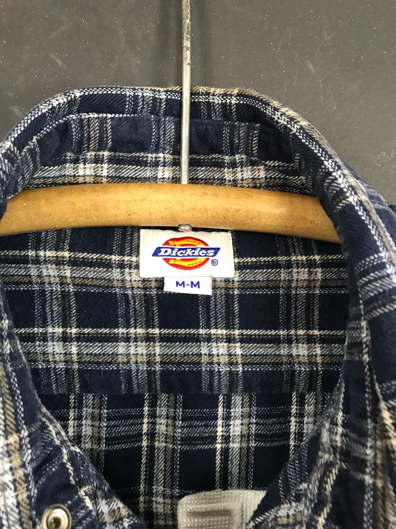Upcyled vintage embroidered flannel medium Dickies blue