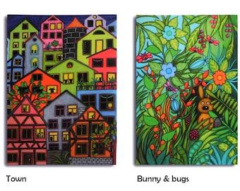 Five art postcards Set 1 - pony, owls, sheep & others