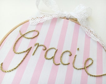 Personalised Name Wall Art - Hand Embroidered Name Hoop