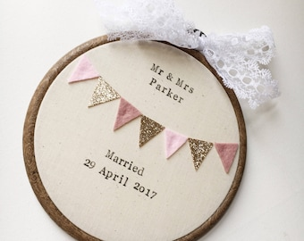 Personalised Wedding Hoop - Wall Hanging - Bunting - Keepsake