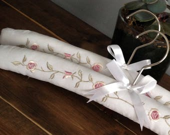Luxury Padded White Cotton Clothes Hangers with Beautiful Coral Pink Embroidered Flowers - Pack of 2