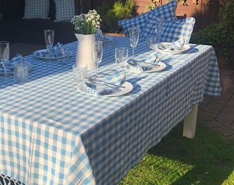 Beautiful Blue and Ivory Checked Tablecloth ~ Matching Napkins and Cushions also Available ~ The Perfect Garden/Dining Room Setting ~