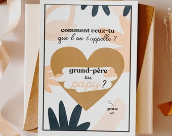 Scratch card, You're going to be GRAND-PERE, announcement card, scratchie card, postcard, pregnancy postcard, future papy, future papy card
