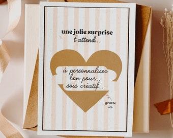 Scratch card, TO CUSTOMIZE, a nice surprise awaits you, announcement card, scratchie card, postcard, postcard to customize