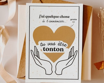 Scratch card, You're going to be TONTON, announcement card, scratchie card, postcard, postcard pregnancy, future uncle, future tonton card